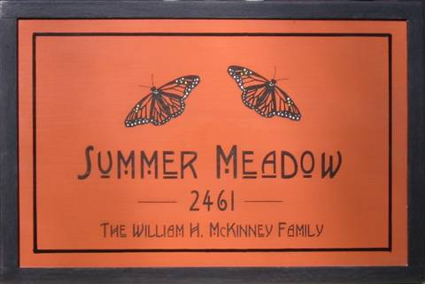 Wood Sign featuring Monarch Butterfly.